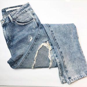 ZARA TRAFALUC Distressed City Girl Slim Ankle Jean